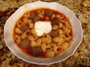 Tomato meatball soup with garlicky yogurt