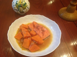 Cinnamon and sugar salmon with onions and sweet potatoes