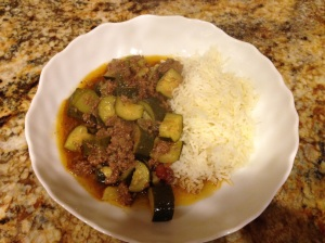 Zuchini ground beef stew