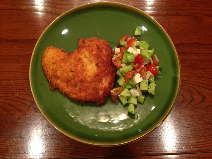 Panko Crusted Chicken With Halloumi-Tomato-Cucumber Salad