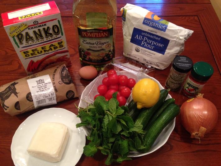 Panko chicken with tomato cucumber salad