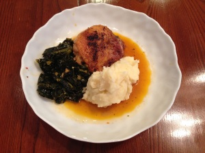 Braised chicken and kale