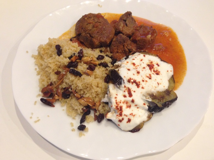 Cumin-Paprika Braised Lamb With Couscous And Roasted Eggplant With Garlicky Yogurt
