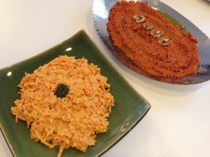 2 divine spreads – Carrot, dill and yogurt and Muhammara