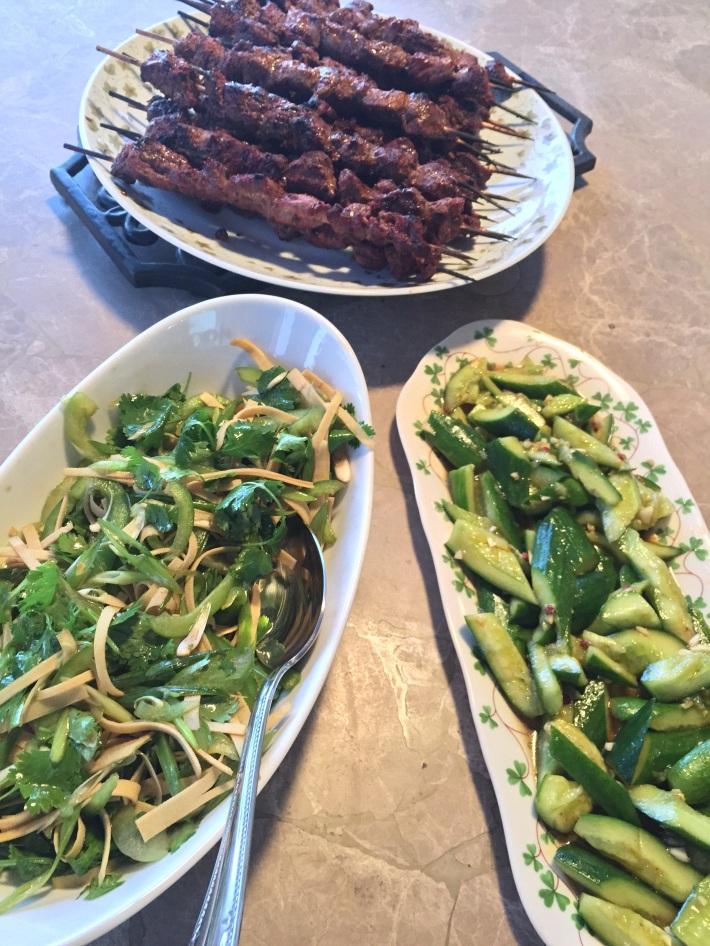 Beijing street food: Uyghur style kebabs (Yangrou Chuanr) and Tiger Salad (Laohu Cai)