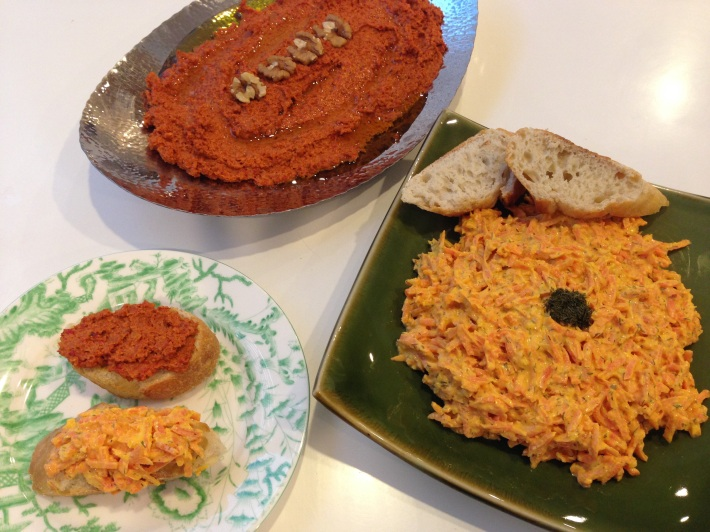 2 divine speads: Carrot with yoghurt and dill and Muhammara
