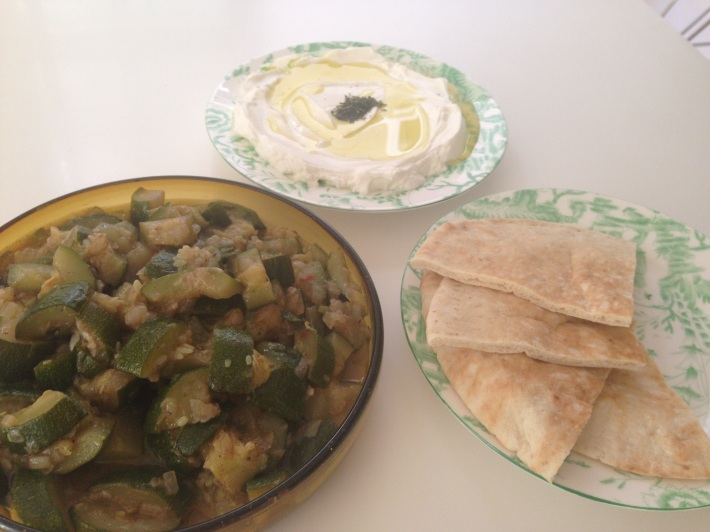 My Vegetarian Lunch Favorites Eaten With Pita Bread: Zucchini With Onions and Allspice and Labne With Olive Oilage