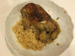 Roast Chicken with Jerusalem Artichoke and Mint-Garlic-Lemon Dressing