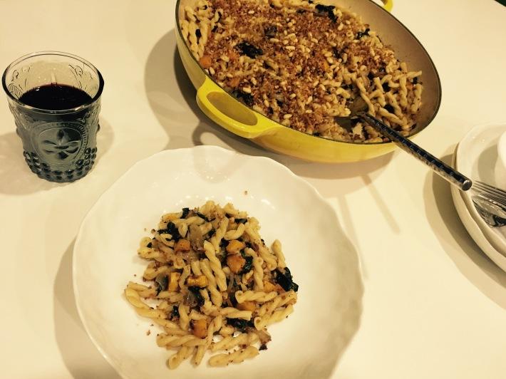 Butternut Squash Pasta With Radicchio, Lacinato Kale, and Pinenuts