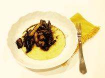 Eggplant And Portabella Mushrooms Marsala Over Polenta