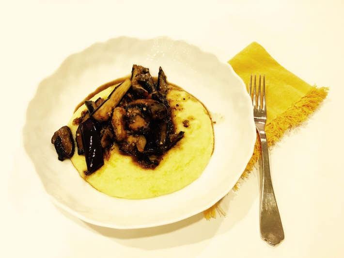 Eggplant and Mortabella Mushrooms Marsala over Polenta